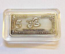 """5 Gram Tibetan Silver """"Year Of The Snake"""" Ingot"""