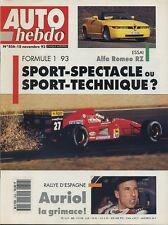 AUTO HEBDO n°856 du 18 Novembre 1992 ALFA RZ VW VENTO VR6 CLIO grA