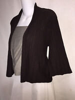 EILEEN FISHER Boxy Brown Ribbed Wool Open Front Cardigan Sweater Lagenlook M EUC