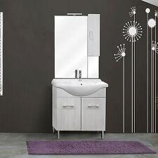 Mobile a terra da 75cm 2 ante con lavabo ceramica specchio, appplique e pensile