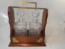 2 Glass Decanter Mahogany Tantalus ref 2865