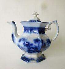 19thC Antique FLOW BLUE Porcelain IRONSTONE TEAPOT
