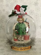 altered art fairy miniature paper pixie handcrafted Christmas snow globe
