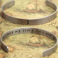Semicolon Bracelet My Story Isn't Over Silver Cuff Suicide Harm Awareness Bangle
