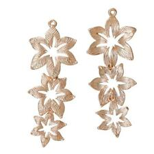 2 Rose Gold Tone Triple Flower Connectors - Copper Flower Droppers Jointed