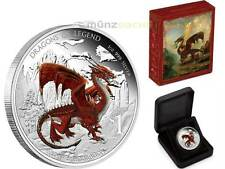 1 $dólares Dragons of Legend red Welsh Dragon Tuvalu 1 Oz plata pp 2012