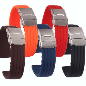 Black/Brown/Navy Silicon Rubber Folding Clasp Safety Watch band Wristwatch strap