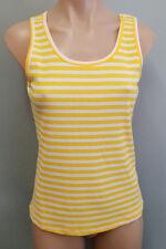 BNWT Ladies Sz 14 Cocolatte Brand Yellow Stripe Rib Sleeveless Singlet Tank Top