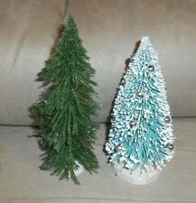 Lot of 2 Christmas/Train Village Pieces -Decorated & Plain Evergreen Trees VGood