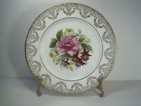 Vintage Harleigh Fine Bone China England Dinner Plate Floral Gold Accent