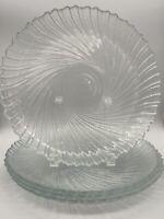 "Arcoroc Seashell Swirl Embossed Glass SEABREEZE 10"" Dinner Plates - Set of 4 USA"