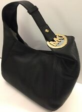 MICHAEL KORS FULTON LG SLOUCHY SHOULDER PEBBLED LTHR IN BLACK,NWT