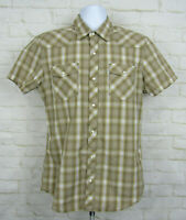 Levis Pearl Snap Western Stlyle Cowboy Shirt Sz Large Modern Fit Brown Casual