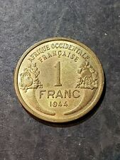 FRENCH WEST AFRICA 1944 1 Franc - PROVISIONAL GOVERNMENT FRENCH REPUBLIC #3