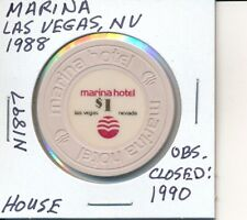 $1 CASINO CHIP - MARINA LAS VEGAS NV 1988 HOUSE #N1897 CLOSED 1990 GAMBLING TOKE