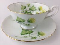 Vintage Shelley Cup and Saucer Ivy England  gold trim fine bone china green EUC