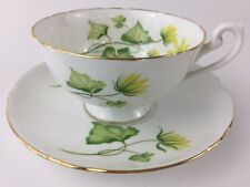 Shelley Cup and Saucer Ivy England  gold trim fine bone china yellow green EUC