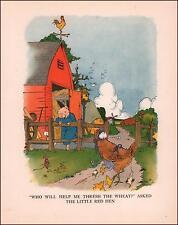 LITTLE RED HEN asks PIG, MOUSE, GOOSE for Help vintage print 1925