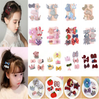 5Pcs Cute Kids Baby Girl Hair Clips Set Bowknot Heart Crown Headwear Hairpins