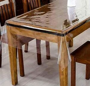 Waterproof PVC Transparent Clear Dining Table Cover Tablecloth Us