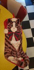Vintage Christmas Needlepoint Tabby Cat Santa Hat Bow Stocking