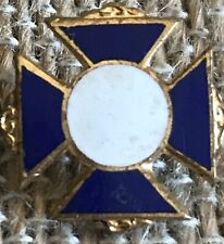 Vintage Blue And White Enamel Iron Cross Pin, Gold Filled
