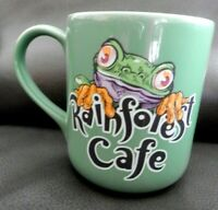 Vintage Large Rainforest Cafe Green Coffee Cup Mug, Frog, CHA! CHA! 16 oz