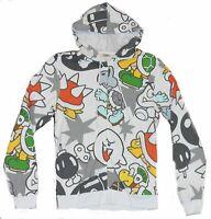 Super Mario Bros Mens Hoodie Sweatshirt - Enemy Grunts All Over Print on White