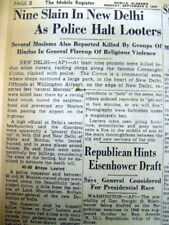 2 1947 newspapers Moslems & Hindus Die in RELIGIOUS RIOTS aft INDIA INDEPENDENCE