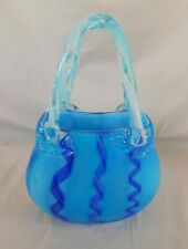 "Hand Blown Studio Art Glass Handbag Purse  9"" x 6"" Blue and White Swirl"