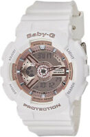 Casio Baby-G Analog-Digital 100m Roe Gold Accent White Resin Watch BA110-7A1