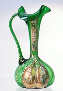 ANTIQUE BOHEMIAN GREEN ART GLASS HANDBLOWN GOLD DECOR PITCHER ENAMELED SHARP PON