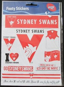Official AFL Sydney Swans Footy Stickers Sticker Sheet 9 Pack Logo Team NEW