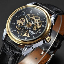 Winner Stainless Steel Skeleton Mechanical Watch PU Leather Strap