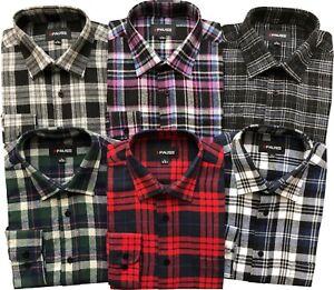 Mens Long Sleeve Flannel Lumberjack Check Causal Shirt Brushed 100%Cotton M- 2XL