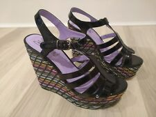 ladies shoes size 6, high wedge, lightweight, black patent & multicoloured heels