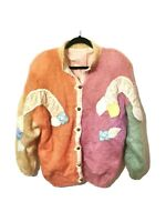 Vintage L XL Padded Hand Knitted Cardigan Jacket Pastel Orange Pink Knit Rainbow