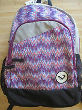 NEW ROXY BACKPACK BOOK SCHOOL STUDENT Girls Laptop Tablet Pouch BAG Grey Purple