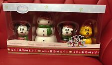 Disney 4 Piece Ceramic Mickey Minnie Snowman Pluto Ornaments [DO]