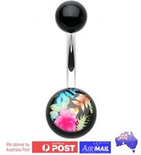 Tropicl Hibiscus Flower Belly Button Navel Bar Ring Stud Piercing Steel 10mm 14g