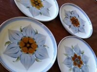 4  Vintage DENBY ENGLAND CHATSWORTH SALAD PLATES PLATE MID CENTURY MODERN