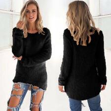 UK Womens Winter Long Sleeve Sweater Lady Sweatshirt Jumper Pullover Tops Blouse Black 6