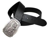 Levi's Men's Bridle Leather Belt with Antiqued Logo Plaque Buckle Black