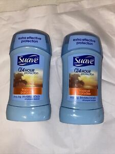 Lot of 2! Suave 24 Hr Anti-Perspirant Invisible Solid, Tropical Paradise 1.40 oz