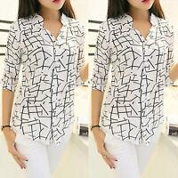Hot Women Elegant Print Loose Chiffon Long Sleeve Blouse Tops Casual Shirt S-XL