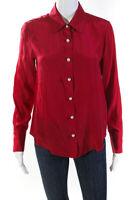 Amanda Uprichard Womens Button Down Silk Bridgeport Top Blouse Pink Size S