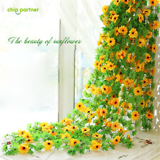 2.4M Sunflower Artificial Silk Fake Flowers Ivy Leaf Garland Plants Home Decor