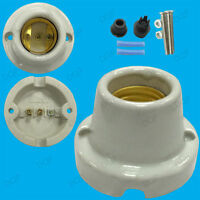 1x E27 Straight Glazed Light Bulb Sockets Ceramic Heat Lamp Holder With Screws