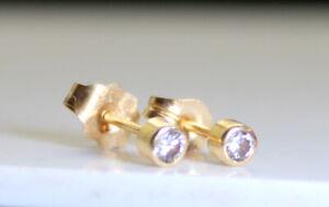 Beautiful TINY .04 Ct RB Diamond 14K Gold Stick/Stud Earrings Not Scrap