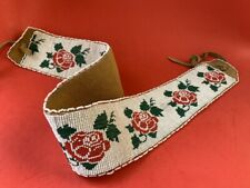 Vintage Seed Beaded Leather Dance Belt ~ Native American ~ Hand Made ~Wide Loom
